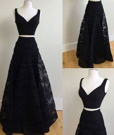 black prom dress, long prom dress, two-pieces prom dress, lace prom dress, 2017 prom dress,  BD480