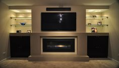 contemporary built in fireplace - Google Search