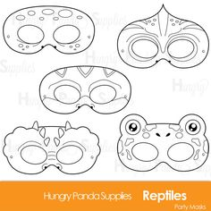 This listing is for (5) reptile themed black and white printable coloring mask JPG files that are in both a zip and PDF! All masks are ready to be printed, cut, and colored in! These are meant for coloring/decorating yourself! :) Your file will be received through Etsys direct