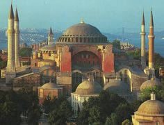 """Hagia Sophia (""""The Holy Wisdom of God"""") - Famous in particular for its massive dome, it is considered the epitome of Byzantine architecture and one of the most beautiful buildings in the world. It was the largest cathedral in the world for nearly a thousand years, until the completion of the medieval Seville Cathedral in 1520. Designed by Isidore of Miletus and Anthemius of Tralles."""