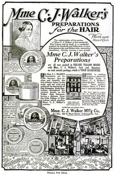 Madame CJ Walker Hair Advertisement - Crisis Magazine, 1920