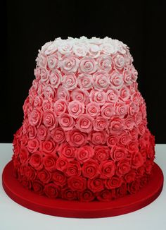 Shades of red to pink roses cake