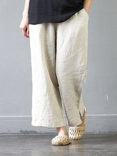 Casual Solid Color Elastic Waist Pockets Pants