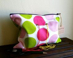 """Knitting bag -  """"Double"""" - Pink and Green Dots"""