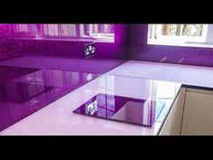 Purple Splashback & Pink Glossy Worktop by Creoglass Design Modern Kitchens 01923 819 684 Modern Kitchens, Cool Kitchens, Glass Splashbacks, Pink Color, Purple, Heat Resistant Glass, Quality Kitchens, Kitchen Worktop, Glass Kitchen