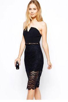vestidos femininos casual dress sexy party dresses women 2015 Sexy Elegant Strapless Midi Lace Vintage Dress LC21708