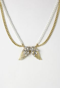 Angel Wings Shape Crystal Necklace - Necklace - Accessory - Retro, Indie and Unique Fashion