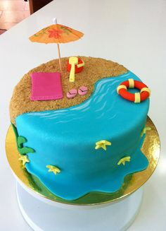 Pastel playa de fondant