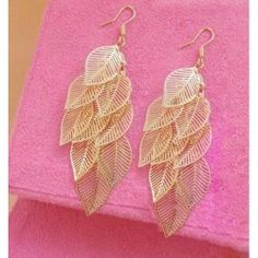 Purchase Leaf Chandelier Earrings in Gold from Anastasia Aur on OpenSky. Share and compare all Jewelry. Golden Earrings, Chandelier Earrings, Women's Earrings, Crochet Earrings, Earrings Online, Pierced Earrings, Fall Jewelry, Jewelry Shop, Jewellery