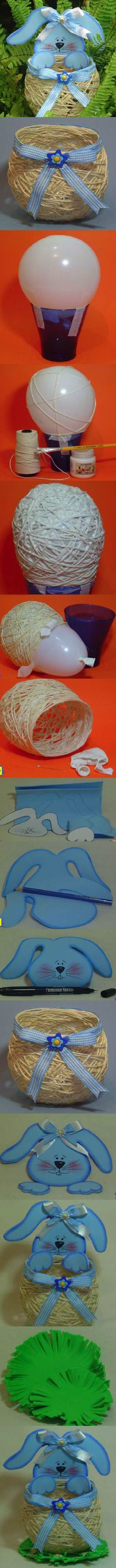 Easter is around the corner ! Here is a super cute idea to make a yarn DIY string Easter basket. The secret is using a balloon. Easter Party, Easter Gift, Happy Easter, Easter Bunny, Easter Eggs, Spring Crafts, Holiday Crafts, Holiday Fun, Easter Projects
