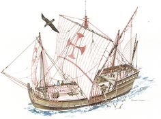 126733. A drawing of a Spanish ship's sails based on historical documents.