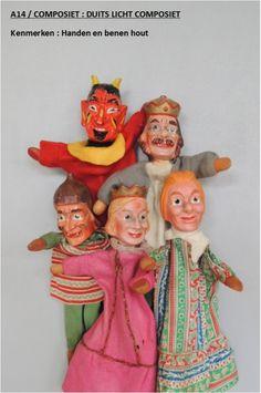 Oude Compsiet Poppenkastpoppen - A14 - Duits licht composiet Puppen puppets Kadperle King Devil duivel koning Teufel König Fürst