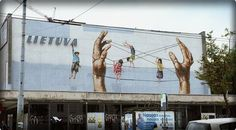 Street-art by Ernest Zacharevic at the Street Art Festival in Vilnius, Lithuania
