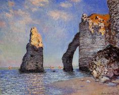 The Cliffs at Étretat by Claude Monet in oil on canvas, done in Now in The Sterling and Francine Clark Art Institute. Find a fine art print of this Claude Monet painting. Claude Monet, Monet Paintings, Landscape Paintings, Chagall Paintings, French Paintings, Indian Paintings, Abstract Paintings, Clark Art, Pierre Auguste Renoir