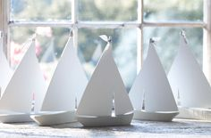 Simple painted wooden sail boats