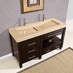 Travertine Stone Integral Top U0026 Dual Faucet Sink Bathroom Vanity #G959