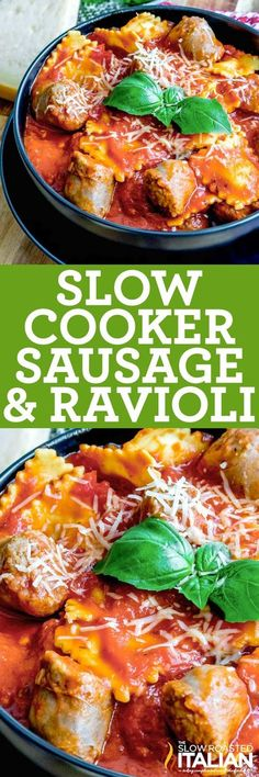 Cheesy ravioli, slices of flavorful Italian sausage and delicious tomato sauce make this Slow Cooker Sausage and Ravioli the perfect meal for a busy weeknight. It's easy to make. Simply toss all of the ingredients in the slow cooker, turn it on, and 4 hours later you have a complete meal!