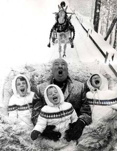 "i like to see famous people doing regular things (not just their ""public"" persona or movie character) - it is nice to see. Alfred Hitchcock, the family man, catching snowflakes during a sleigh ride with his grandchildren, 1960 Alfred Hitchcock, Rare Historical Photos, Rare Photos, Mick Jagger, Ansel Adams, Classic Hollywood, Old Hollywood, Old Pictures, Old Photos"