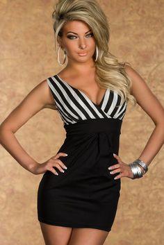 Striped V-neck Fancy Party Mini Dress