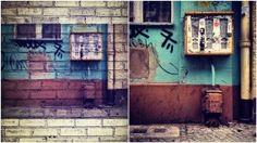 Ein iPhone 4S Fotos - zwei Bilder. Links mit der App Graffiti Me!™ und rechts ganz klassisch mit der App Instagram. Die meisten Kaugummi Automaten in Berlin haben schon bessere Zeiten gesehen.
