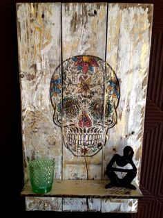 #DayOfTheDeadPalletGoldSkullWallArt Day of the Dead Wall hanging and shelf made from repurposed pallet and vegetable crate, Finished with gold leaf and a gloss varnish. Can be customized to clients image or photograph. Dimensions: height 19in / width 12in