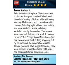 """Bella Notte is a nice place. The atmosphere is classier than your standard """"checkered..."""