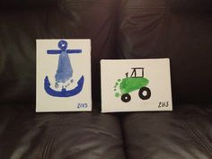 Footprint art. Anchor. Tractor.  Father's Day present for the grandpas this year.