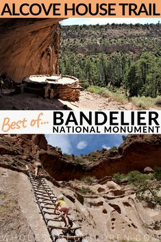 Best hiking trails in Bandelier National Monument, New Mexico: Climbing to the ceremonial cave on the Alcove House Trail In Bandelier – why you shouldn't skip this unique hike!!!  #alcovehousetrail #alcovehouse #ancientpueblo #ceremonialcave #bandelier #bandeliernationalmonument #hikingbandelier #bandeliertrails #hikingnewmexico