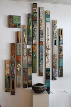 SOLD Cindy Layaway Return to the Sea Totems Collages Large diy summer garden Tribal Glazed Natural Sea Shore Painted Collage Totems Large Recycled Metal-Wood Wall Vertical Sculptures Driftwood Beach House Cabin Boho Totems, Driftwood Beach, Painting For Kids, Children Painting, Wood Paneling, Paneling Painted, Wood Walls, Painted Wood, Tile Art