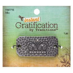 Instant Gratification Burnished Silver Crown Focal Pendant - $2.99 ~ Hobby Lobby