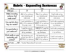 Expanding Sentences Rubric