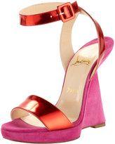 Christian Louboutin, Djaldos Spechio Colorblock Wedge, pink & orange, $925.00