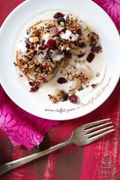 Quinoa Stuffed Pears | Vegan Recipe on FamilyFreshCooking.com