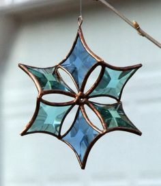 Blue Green Turquoise Copper Beveled Glass Flower by SNLCreations