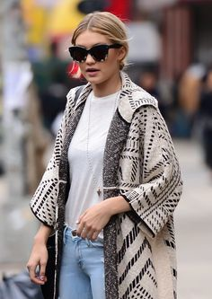 Pin for Later: Gigi Hadid Just Wore the Perfect Weekend Outfit  We love a good pair of cat-eye sunglasses — especially when we've got tired eyes.