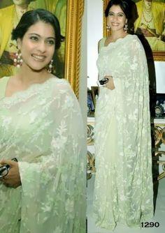 Bollywood Actress Kajol Net Saree in Green color