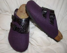 Papillio purple wool clogs with black floral accent.