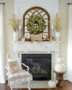 Happy Monday ... football fun with friends here yesterday means a lazy day today!  Although, I did muster up energy to snap pics of our neutral Fall great room mantel for a few fun hashtags!  Thanks to Kirkland's for having the perfect mirror for the centerpiece and the gorgeous wreath from Magnolia!  Have a great day! @kirklands #mondaymirrors #mydecormonday #myseasonalfarmhouse #inspirememonday #howyouholiday #myneutralmonday #falldecor #mantelscape #instadecor #instahomes #howyouhome…