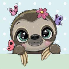 Sloth Cartoon, Cute Cartoon Animals, Unicorns, Pug, Mickey Mouse, Tropical Animals, Cute Frames, Cute Sloth, Cute Unicorn