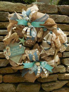 beach wreath summer wreath flip flop wreath shell by ChickadeeLore, $75.00