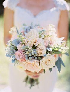Wedding Bouquets Inspiration : Romantic Blush Sundance Resort Wedding: www. Blue And Blush Wedding, Blue Wedding Flowers, Dusty Blue Weddings, Bridal Flowers, Floral Wedding, Wedding Colors, Trendy Wedding, Flowers For Weddings, Wedding Bouquet Blue