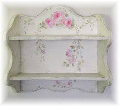 hand painted pink roses and greenery turned this already beautiful shelf into a stunning work of art