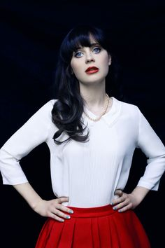 Zooey Deschanel was shot by Billy Kidd. - love the beautiful blue eyes with dark hair and red lips :)