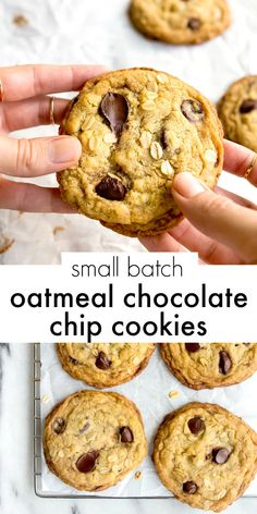 Small batch oatmeal chocolate chip cookies--the perfect recipe for a half dozen of the softest and best small batch chewy oatmeal cookies around! for chocolate chips for chocolate chips and peanut butter for chocolate chips cookies Small Batch Cookie Recipe, Small Batch Baking, Easy Cookie Recipes, Cookie Desserts, Dessert Recipes, Small Batch Of Cookies, Easter Desserts, Oatmeal Recipes, Lunch Recipes
