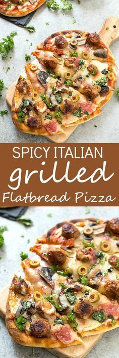 Easy Spicy Italian Sausage Grilled Flatbread Pizza - Crispy and Grilled naan flatbread layered with pizza sauce, shredded mozzarella cheese, hot Italian sausage, salami, manzanilla olives, mushrooms, and fresh basil! The perfect summer appetizer or main dish!