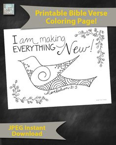 Bible Verse Coloring Page - Revelation 21:5 - Everything New - Printable Coloring Page - Bible Coloring Pages - Christian Kids Activities