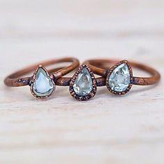 Aquamarine and Copper Rings ♥️ www.indieandharper.com