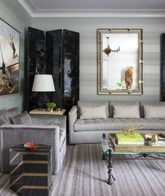 chic & unique silvery gray living room with splashes of gold