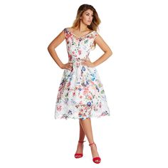 Keep up with the Summer florals in this printed crochet lace dress. Featuring a bardot neckline and an extended crochet lace hem. Complete the look with a pair with strappy heels. Plus Size Bridesmaid, Floral Bridesmaids, Bardot Midi Dress, Crochet Lace Dress, Going Out Dresses, Fit And Flare, Summer Dresses, Womens Fashion, Outfits