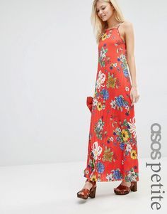 Image 1 ofASOS PETITE Pleated Cami Maxi Dress Red Floral Print